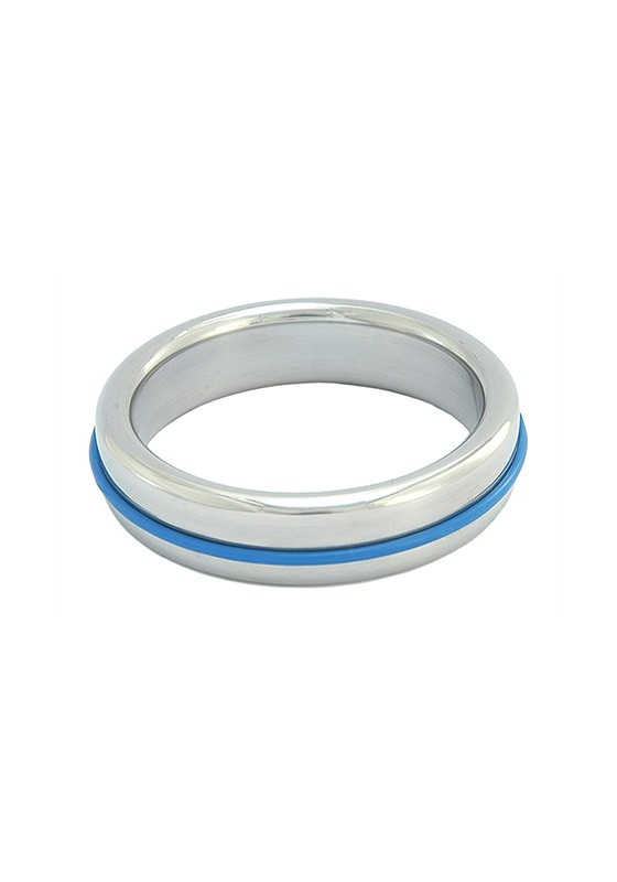 Stainless Steel Slim Cock Ring With Blue Band - Front