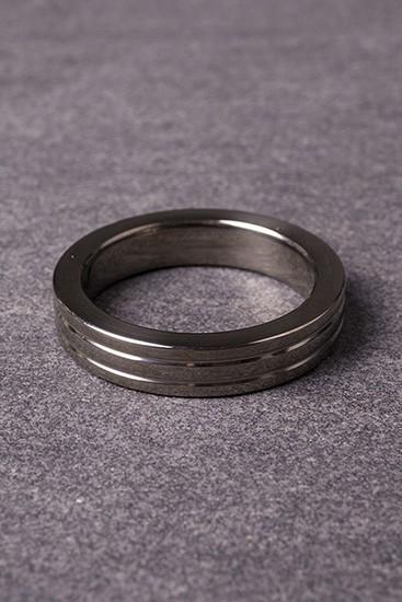 Cockring Ribbed - Black Steel - 10mm Wide - Gallery - 003