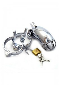 Male Chastity Device - Lancelot Diamond Tube - Stainless Steel